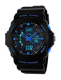 男孩女孩儿童数字运动手表–多功能50M 防水 LED 灯电子运动手表适用于青少年儿童青少年男孩女孩 with ALARM 秒表计时器(蓝色)