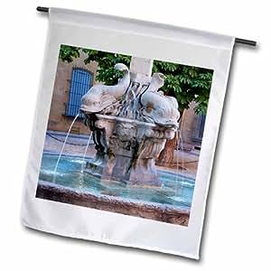 3dRose fl_135823_2 四只海豚喷泉,法国艾克斯-欧普罗旺斯 EU09 BJN0014 花园旗,45.72 x 68.58 cm