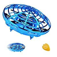 TURNMEON 手動迷你無人機 節日生日禮物送給男孩女孩,兩個速度自動回避障礙物360°旋轉飛球玩具戶外室內游戲(藍色)