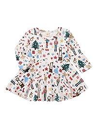 MLCHNCO 女婴圣诞连衣裙卡通长袖短裙套装