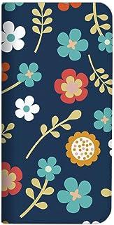 Mitas XPERIA 5 SO-01M 手机壳 手账型 无带 花 花朵图案 花朵 藏青色 (459) NB-0029-NV/SO-01M