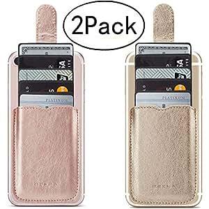 手机卡夹RFID 屏蔽袖套,PU 皮革背面手机钱包可粘附拉式 5 个卡夹通用口袋盖信用卡现金适用于 iPhone/Android/Samsung/所有智能手机。 玫瑰金