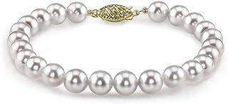 THE PEARL SOURCE 14K 黄金 6.5-7mm 圆形白色日本 Akoya 海水养殖珍珠女士手链
