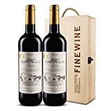 【法国AOC红酒,木盒装】初生活 法国波尔多AOC级泰菲干红葡萄酒礼盒装 750ml*2