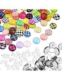 不锈钢杯形柱状耳环套装,Miayon 100 件凸圆形耳环镶嵌 100 件圆形彩色平背宝石和 100 个耳钉背面用于 DIY 耳环制作(12 毫米)