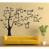 LINFON Huge Family Photo Frame Tree Branch & Leaves Wall Decal Sticker Art Stickers Vinyl Decals Home Decor Include birds for Living Room&bedroom (Black)