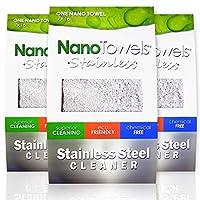 Nano Towels 不锈钢清洁剂 3 件装   神奇无化学不锈钢清洁可重复使用擦拭布   适合儿童和宠物使用   17.78x40.64cm Light Grey With Black Trim 7 x 16 in