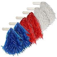ArtCreativity 爱国绒球,6 件套,红色,白色和蓝色啦啦队长绒球,7 月 4 日派对装饰,退伍军人,纪念日和独立日美国国旗颜色装饰
