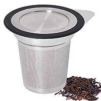 茶叶过滤器适用于松散叶茶和咖啡,精细单网筛漏器,带 304 不锈钢注入篮和耐热硅胶环,手柄,盖子和滴水盘,适合大多数茶壶、马克杯、杯、杯