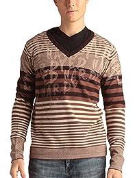 ED hardy 男式条纹签名印花 V 领毛衣