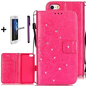 iPhone 7 手机壳,[卡槽][支架] - ISADENSER 闪亮水晶钱包高级 PU 皮革压花花朵蝴蝶翻盖手机 + 1 个屏幕保护膜 + 1 个手写笔 Diamonds Rose