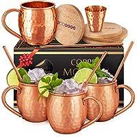 莫斯科穆勒铜杯套装:4 453.59 克 纯正铜马克杯在印度手工制作,4 个吸管,4 个木质杯垫和玻璃:优雅礼盒,Yooreka 出品