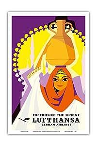 "Pacifica Island Art Experience the Orient - Lufthansa 德国航空公司 - Hans Rott 复古航空旅行海报 c.1958 - 艺术印制 12"" x 18"" PRTB5021"