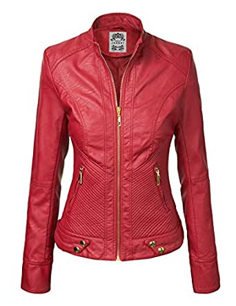 MBJ Womens Panelled Faux Leather Moto Jacket  Wjc747_red Small