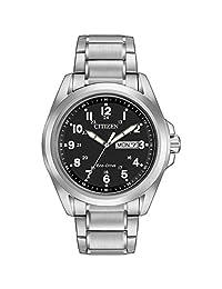 Citizen Wr100 男士太阳能手表黑色表盘模拟显示和银色不锈钢表链 Aw0050-82E