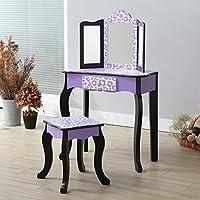 teamson 儿童时尚印花梳妆台桌和长凳套装带镜子