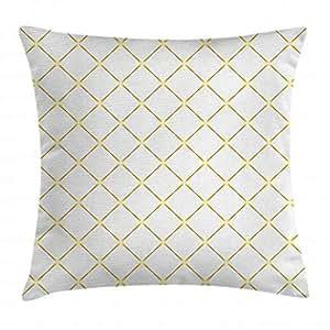 Ambesonne 金色和白色抱枕枕套,Rhombus 抽象矩形细线几何图案印花,装饰方形装饰枕套,50.8 X 50.8 厘米,黄色和白色
