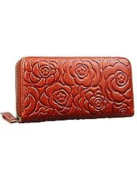 Heshe 女式皮革钱包长款拉链手提包卡包钱夹钱包