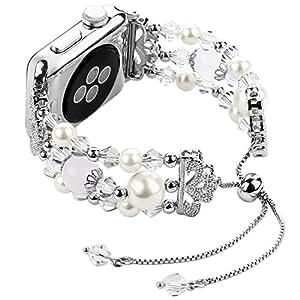 Junwei Iwatch 表带 38mm 40mm / 42mm 44mm 可调,女士女孩时尚苹果表带带带弹性闪亮珠水晶水钻珍珠 Apple Watch 系列 4 3 2 1JW-09-Silver-42 42mm / 44mm 银色