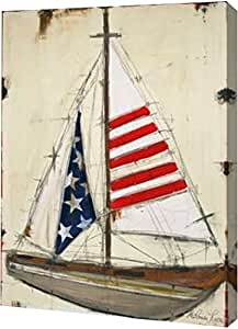 "PrintArt GW-POD-48-ML1150-18x24""American Sail"" 由 Melissa Lyons 创作画廊装裱艺术微喷油画艺术印刷品 27 英寸 x 36 英寸 GW-POD-48-ML1150-27x36"