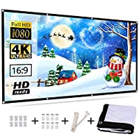 Senignol 投影屏,120 英寸 4K HD 16:9 可折叠便携式投影仪电影屏幕,适合家庭影院、户外、多媒体课堂、办公室、室内、支持前部和后投影