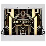 WOLADA 17.78x12.70cm 生日快乐摄影背景 Great Gatsby 派对背景黑金色横幅照片工作室展会 11075