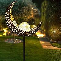 SolizFlamez Solar-Pathway 月亮裂纹玻璃带地球仪金属户外灯防水暖白色 LED 适用于露台、步行和花园(铜色)