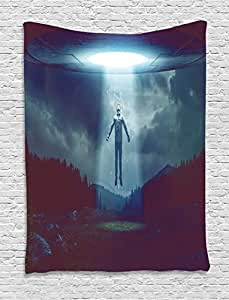 Quirky Decor Tapestry by Ambesonne, Man Abducted by UFO Scenery Alien Spaceship Extra Terrestrial Futuristic, Wall Hanging for Bedroom Living Room Dorm, 60 W X 80 L Inches, White Dark Blue
