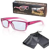 被动 3D 儿童眼镜 - 粉红色/透明 - 偏光镜片 - 适用于 RealD 3D 电影和电视 - 包括超细纤维眼镜袋和清洁布