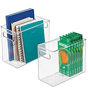 mDesign Office Supplies Bin, Desk Organizer for Pens, Pencils, Markers, Highlighters, Tape - Pack of 2, Large, Clear