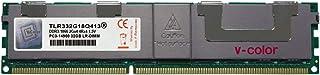 V-Color 32GB (1 x 32GB) 240-Pin DDR3 1866MHz (PC3-14900) 减压 DIMM 带散热器的 1.5V CL13 4Rx4 四列服务器内存内存内存模块* (TLR332G18Q413)