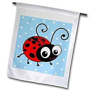InspirationzStore 可爱动物 - 蓝色波尔卡圆点上的可爱瓢虫图案可爱红色和黑色斑点瓢虫卡通瓢虫昆虫 - 旗帜 12 x 18 inch Garden Flag fl_113182_1