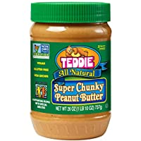 Teddie Natural Peanut Butter, Super Chunky, 26-Ounce Jar (Pack of 3)