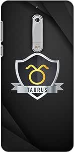AMZER 修身款手工制作设计师印花硬质壳后盖与屏幕清洁套件皮肤适用于诺基亚 5 Black Taurus