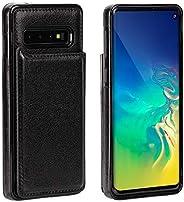 IronSeals AQ 折叠卡槽皮革手机套钱包带磁扣适用于三星 S10/S10e/S10+ S10 黑色