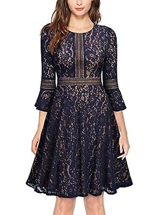 missmay 女式复古全蕾丝撞色袖大裙摆 A 字裙连衣裙 A-navy Blue X-Large