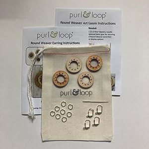 "Purl & Loop 珠宝圆形编织耳环套装 桦木色 1 英寸 Birch 1"""