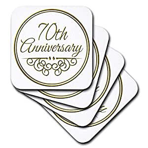 3dRose cst_154512_1 70Th Anniversary Gift Gold Text for Celebrating Wedding Anniversaries 70 Years Married Together Soft Coaster (Set of 4)