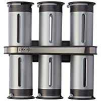 Zevro KCH-06099 Zero Gravity 8 Piece Magnetic Spice Rack with 6 Spice Canisters, Silver