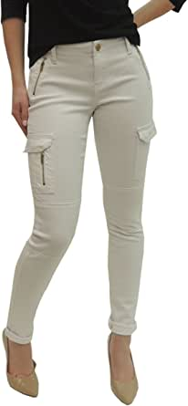 Pranx P26 女士精英牛仔裤紧身工装裤 带拉链牛仔裤 白色 7