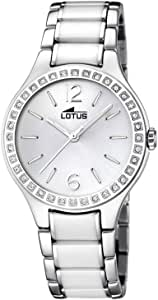 Lotus 女式石英手表白色表盘模拟显示和白色陶瓷手链 15933/1
