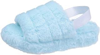 女式毛绒拖鞋舒适毛绒室内家居拖鞋柔软拖鞋坡跟凉鞋带弹性带