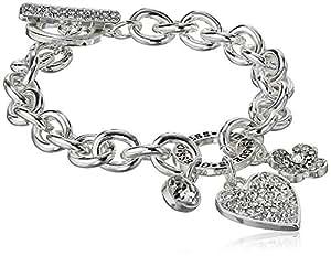 GUESS 女式锁环线手链带标志,银色,均码
