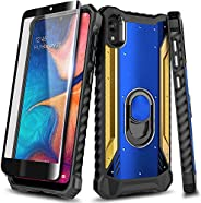 E-Began 摩托罗拉 Moto E6 手机壳,带钢化玻璃屏幕保护膜(全覆盖),铝磁性金属内置环形支架,全机身保护防震*手机壳(蓝色/金色)