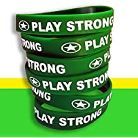 运动腕带手环(绿色,6 件装,经典 1.27 x 17.78 cm 青少年尺寸)PLAY STRONG 耐用硅胶手链,队教练运动员激励 #AllProfitsToHelpKids