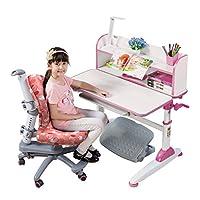 生活诚品 儿童学习桌椅套装儿童书桌可升降手摇书桌学生写字桌 ME351+AU303套装公主粉(适龄于3-18周岁人群使用)【亚马逊自营,供应商配送】