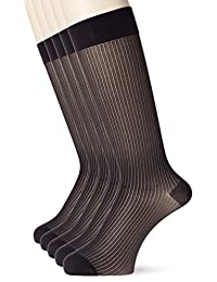 [*足] (*足) 绅士圆领袜子 高*单色5双装 薄款 带脚跟 *防臭加工 男士高筒袜