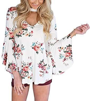 Ebetterr 女式休闲花卉印花项圈长袖上衣女衬衫 白色 X-Large/US 16-18