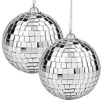 2 件迪斯科镜球银色悬挂球适用于 50 年代 60 年代 70 年代迪斯科 DJ 灯光效果派对家居装饰阶段道具学校节日派对礼品和用品 4 英寸