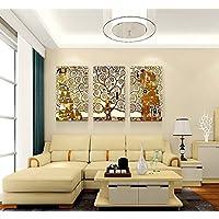 (多种尺寸可选)现代简约客厅装饰画无框画三联画 家居挂画壁画沙发背景墙 欧式经典油画 生命树 (70cm*100cm*25mm(厚板)-(立体感强), 一套3幅价格)